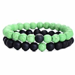 Ghome Distance Bracelets Friendship Relationship His Hers Couples Bracelets Black Matte Agate & White Howlite 8MM Beads Elastic Bracelet Green & Black
