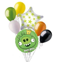 Anagram 7PC Green King Pig Angry Birds Balloon Bouquet Party Decoration Video Game Movie