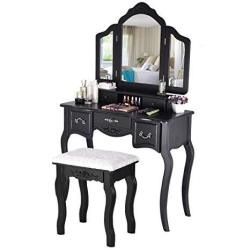 Fine Beautiful Dressing Table & 3 Mirrors Large Tri-folding Necklace Hooked Mirrors 5 Drawers Makeup Dress Table With Cushioned