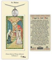 Pewter Saint Blaise Medal With Laminated Holy Prayer Card