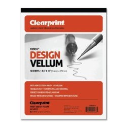 Chartpak Inc. Clearprint 1000H Design Vellum Pad 16 Lb. 100% Cotton 8-1 2 X 11 Inches 50 Sheets Translucent White 1 Each 10001410