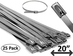 "Electriduct 20"" Stainless Steel Cable Ties Heavy Duty Metal Locking Zip Ties - 25 Pieces"