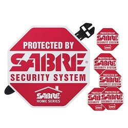 Security Equipment SECCA Sabre Home Security Alarm Yard Sign And 5 Window Decal Stickers Crime Deterrent