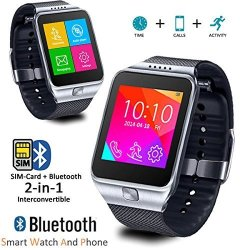 InDigi 2- In -1 Bluetooth Sync GSM Wireless Smart Watch Compatible For Ios Android Os
