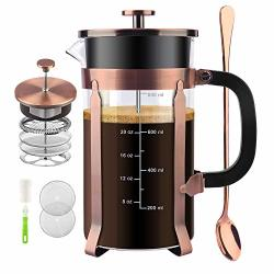 Cengan French Press Coffee Maker 34 Ounce 1.0 Liter 18 10 Stainless Steel Heat Resistant Borosilicate Glass With 4 Level Filtration System