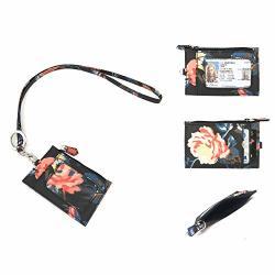 Wonderful Flower Id Case And Lanyard G01 Zip Id Dark Navy