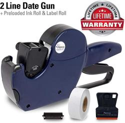 USA Perco 2 Line Date Gun: Includes 16 Digits Date Gun Labeler Pre-loaded Roll Of 750 White Labels And Ink Roll