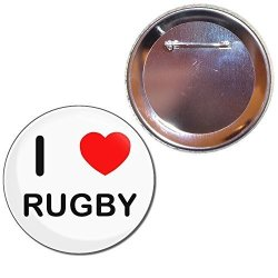 BadgeBeast I Love Rugby - 77MM Button Badge
