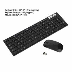 Beesclover 2.4GHZ Wireless Keyboard Mouse Combo Ultra-thin MINI Computer Wireless Keyboard Mouse Kit Black