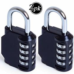 Combination Lock 4 Digit Combination Padlock Set Metal And Plated Steel Material For School Employee Gym Or Sports Locker Case Toolbox Fence Hasp Cabinet