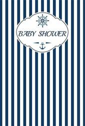 Csfoto 6X8FT Background For Helm Boy Baby Shower Photography Backdrop Blue Striped Anchor Compass Nautical Theme Party Pregnant Welecom Little One Cel
