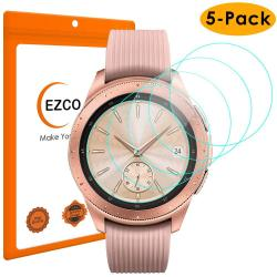 EZCO 5-PACK Compatible Samsung Galaxy Watch 42MM 46MM Screen Protector Waterproof Tempered Glass Screen Protector Cover Compatible Galaxy Smart Wat