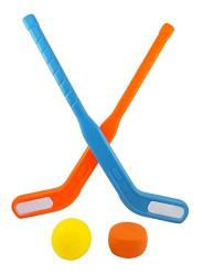 Liberty Imports Face Off Dual Hockey Sticks Youth Sports Set For Kids Puck & Ball 1 Pack