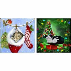 "Bubble 2 Packs 5D Diy Christmas Cat Diamond Painting Set Full Drill Diamond Painting Kits By Numbers Diy Tools Christmas Cat 35X35CM 14""X14"""