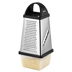 VonShef Stainless Steel 4 Sided Cheese Fruit Veg Chocolate Grater With Collection Box And Lid
