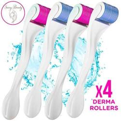 Derma Roller 4 Pack 540 Titanium Micro Needle .25MM Microdermabrasion Exfoliating Roller Kit Includes Storage Cases