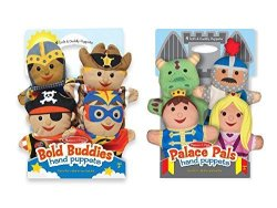Melissa & Doug Adventure Hand Puppets Set Of 2 4 Puppets In Each - Bold Buddies And Palace Pals