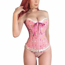 Littleforbig Women's Lace Up Boned Overbust Corset Bustier Bodyshaper Top - Usagi Moon L Pink