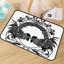 Modern Doormat Gallos Decor Collection For Porches Two Cocks Illustration Fighting Cockerel Ornamental Floral Arch Symmetry Image W20 X L30 Black And White