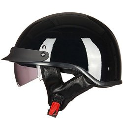 ILM Motorcycle Half Helmet With Integrated Sun Visor Quick Release Buckle Dot Approved L Gloss Black