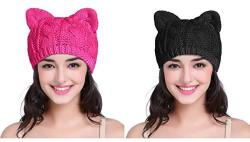 V28 Women Girls Boys Teens Cute Cat Ear Knit Cable Rib Xmas Hat Cap Beanie Kittenear White Medium