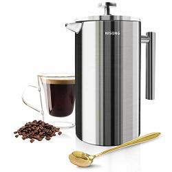 Large French Press 50 Oz French Press Coffee Maker 1500ML With Double-wall Insulated Stainless Extra Filter Screens Dishwasher Safe
