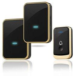 Wireless Doorbell Kit Threetreasures Door Bell Operating At Over 1300 Feet Waterproof Door Chime Kit With Two Plug-in Receivers LED Indicators 45 Melodies Easy