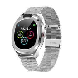 T01 1.3 Inch Tft Color Screen IP68 Waterproof Sport Smart Watch Support Body Temperature Measurement Heart Rate Monitoring Sleep Monitor Style:with Steel Watch Strap Silver