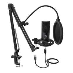 Fifine - T669 Cardioid USB Condensor Microphone Arm Desk Mount Kit - Black