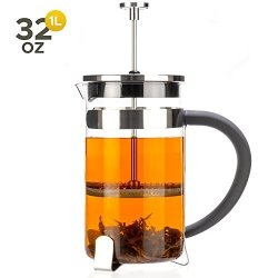 Tealyra - French Press 32-OUNCE - 4-5 Cups - Great For Tea Coffee Espresso Drinks - Glass Heat-resistant Borosilicate Glass - 18 10 Stainless Steel