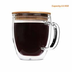 Glass Tea Mug Double Wall Coffee Cups With Bamboo Lid Tea Cups Latte Cups Coffee Mug Beer Es Latte Mug Clear Mugs