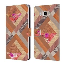 Head Case Designs Official Bianca Green Cubed Quilts Leather Book Wallet Case Cover For Samsung Galaxy J7 2016
