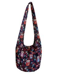 BTP Owl Hippie Hobo Sling Crossbody Bag Messenger Purse Thai Cotton Large Black Red OL10