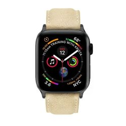 Colton James Leather Strap For Black space Grey 44MM Apple Watch-sandstone