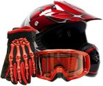 Typhoon Helmets Youth Offroad Gear Combo Helmet Gloves Goggles Dot Motocross Atv Dirt Bike Mx Spiderman Red XL