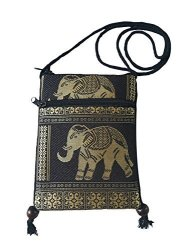 BTP Hmong Bag Hill Tribal Elephant MINI Crossbody Single Shoulder Bag Cellphone Case Passport Holder & Travel Pouch Black CP1