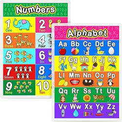 Laminated Preschool Poster For Toddlers And Kids 2 Pieces Full Laminated Posters Alphabet Number 1-10 For Nursery Homeschool Kindergarten Classroom 16.9 X 11.9 Inch