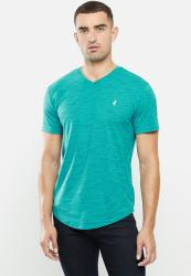 Polo Mens Oliver Short Sleeve V Neck Space Dye - Teal