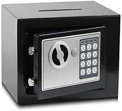 USA Wangjunxiu Safes Small All-steel Password Safe Office Safe Household Wall-to-wall Bedside Safe Box 17E MINI Piggy Bank Safe Box Color : Black