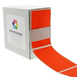 "Chromalabel.com 2"" X 3"" Fluorescent Red Orange Color Code Square Sticker Labels Permanent Adhesive Write-on Surface 250 DISPENSER Box"