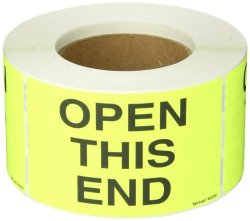 """Tape Logic DL2761 Special Handling Label Legend""""open This End"""" 5"""" Length X 3"""" Width Fluorescent Yellow Roll Of 500"""