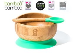 Easy Feed Baby Suction Bowl and Spoon Set Blue Stay Put Feeding Bowl Natural Bamboo