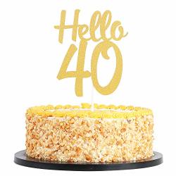 35 Anniversary Birthday Gold Glitter Party Cake Decoration INNORU Happy 35th Birthday Cake Topper