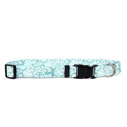 """Yellow Dog Design Teal Lace Flowers Dog Collar With Tag-a-long Id Tag SYSTEM-LARGE-1"""" And Fits Neck 18 To 28"""