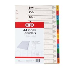 Aro A4 File Dividers Bright Board Tab Jan-dec