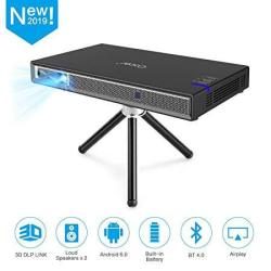 Cocar MINI Projector T5 2019 New Upgrade Android 6.0 Portable Video Projector Built-in Battery 3D Dlp-link 2400-LUMEN Louder Spe