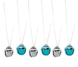 Charmed By Dragons Christmas Chanukah Holiday Jingle Bell Necklace Lot Of 6 Blue silver
