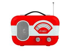 Coca-cola Retro Desktop Vintage Style Am fm Battery Operated Radio With Auxillary Input Red white