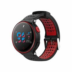 Allenrous IP68 Waterproof Smart Watch For Swimming Heart Rate Monitor Sport Fitness Activity Tracker Pedometer Bracelet Sedentary drink Reminder For Android & Ios Color : Red