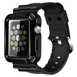 Iiteeology Replacement For 38MM Rugged Protective Iwatch Case And Band With Built-in Screen Protector Compatible With Apple Watch Series 3 2 1 Black